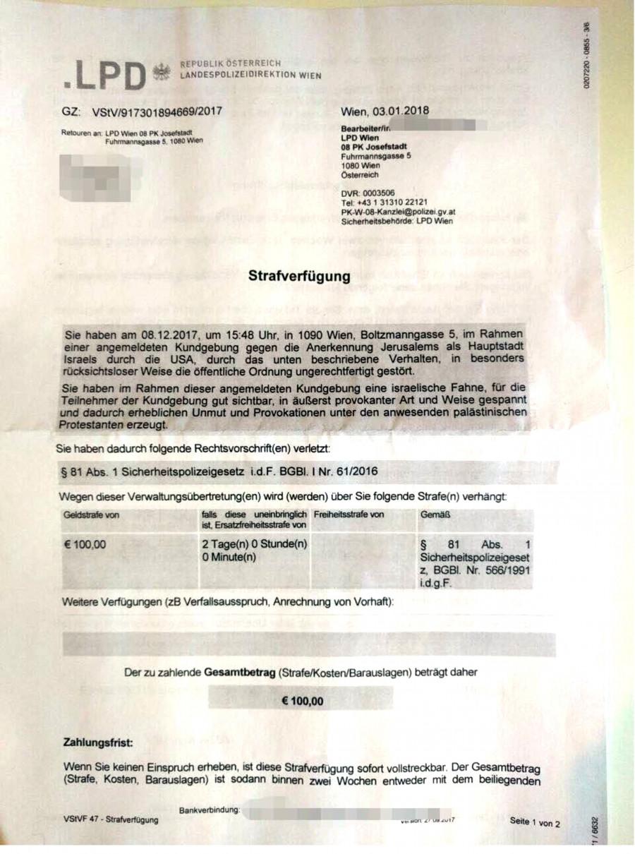 Gefängnis In Wien Für Das Zeigen Der Israelfahne Ungeheuerlich